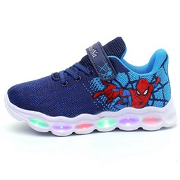 kids led flash shoes NZ - Kids Boys Spiderman Light-up Sneakers Flashing Running Shoes 2019 Fashion Led Lights Black Blue Red Buckle Strap Shoes