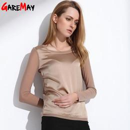 Black Silk Chiffon Australia - Women's Shirts Blouses 2019 Long Sleeve Formal Chiffon Blouse Women Shirts White Black 9 Color Silk Tops And Tees Satin Blouse J190618