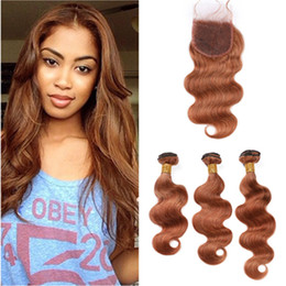 light brown hair weave closure Canada - Medium Auburn Brazilian Body Wave Human Hair Weaves 3 Bundles with Closure #30 Light Brown Virgin Hair Extensions with Lace Closure 4x4""