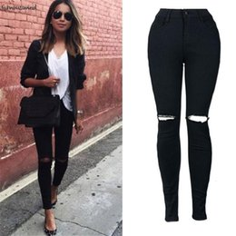 Wholesale stretch tights resale online - Jeans Hole Woman New Sexy Black Denim Pencil Pants Twill Skinny Stretch Fitness Soft Tights Leggins Jeans Oc15