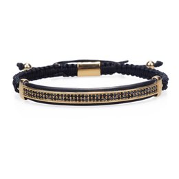 $enCountryForm.capitalKeyWord Australia - Fashion Jewelry Micro Pave Black Cz Double Long Tube Watch Protector Macrame Rope Bracelet Men Pulseira Masculina