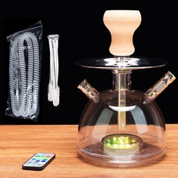 Discount ceramic pipes bongs - High Quality Glass Hookah Shisha Bong Smoking Pipe Acrylic Set Ceramic Bowl Arab Stem Tools Oil Rig