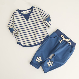 Cute Spring Shirts Australia - Spring Summer Baby Girls Clothing 2pcs Sets Cute Fresh Long Sleeve Striped Shirt + Stars Trousers Suit Baby Girl Clothes Kids Clothes