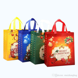 PaPer woven bags online shopping - Large Capacity Shopping Bag Of Christmas Colors Non Woven Gift Bags High Quality Cheap Price Bag WholeTied