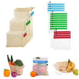 Hand doors online shopping - Reusable cotton mesh grocery shopping produce bags eco friendly polyester fruit vegetable bags hand totes home storage bag MMA2103