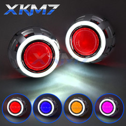 Discount angel eyes hid headlights - Headlight Lenses Angel Eyes Bi-xenon Lens HID Projector 3.0 Super Devil Eyes Kit For H7 H4 Cars Accessories Retrofit Use
