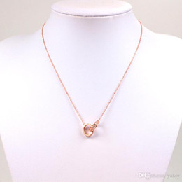 Necklaces Pendants Australia - 3 color Stainless steel CZ Diamond circle Pendant Chain Necklace 18K Rose gold Yellow gold plated Wedding Necklace for Women