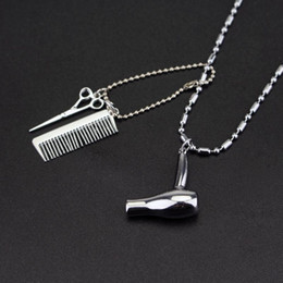 $enCountryForm.capitalKeyWord Australia - RJ New Fashion Barber Hair Dresser Silver Necklaces Hair Dryer Scissor Comb Pendant Necklace Charm Collier JewelryRJ New Fashion Barber