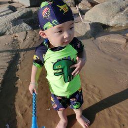 $enCountryForm.capitalKeyWord Australia - Boys Swimming Cap Tshirt Shorts Cartoon 3 Pieces 3 Color Split Swimsuit Children Swimwears Baby Infant Bathing Suits Swim Suit Sets Cap