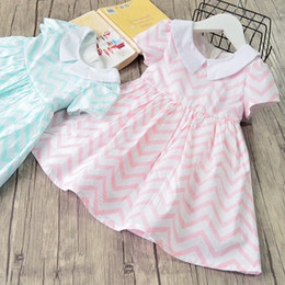Chinese  Summer new Girl kids Short sleeve doll collar dress full raised grain print girl charming cotton dress free ship manufacturers