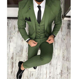 Navy Suits For Sale Australia - Hot Sale Olive Green Mens Suits Notched Lapel Groomsmen Wedding Tuxedos For Men Blazers Three Pieces Formal Prom Suit Jacket+Pants+Vest