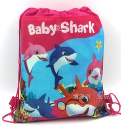 Kids Backpacks Woven Australia - 12pc 27*36cm Shark Baby Drawstring Backpack Kids Gift Bag Non-Woven Fabric Loot Bag Mochila Party For Kids Girl Birthday Decoration