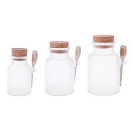 salt jars bottle Australia - Scrub Bath Salt ABS Bottle Sealed Jar Wooden Spoon Soft Cork Storage Stopper Bottle Frosted Seal Refillable Mask