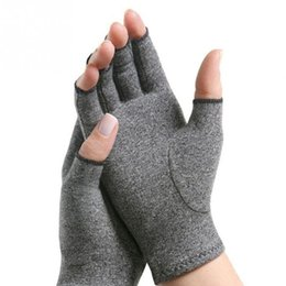 fingerless golf gloves Australia - 1 Pair Women Men Cotton Elastic Therapy Open Fingers Compression Gloves Hand Arthritis Joint Pain Relief Gloves