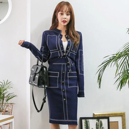 Korean top sKirts online shopping - Korean version of the latest temperament thin color matching knit top bag hip skirt suit