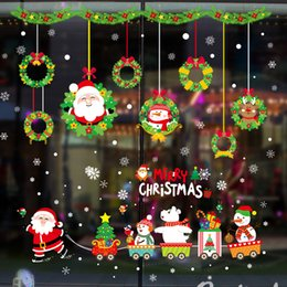 christmas glass window wall 2019 - Merry Christmas Decorations for Home New Year Santa Claus flower ball bedroom glass window Removable Wall Stickers Navid