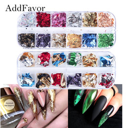 gold flakes wholesale 2019 - Addfavor Irregular Nail Foil Paper Aluminum Flakes Gold Silver Nail Art Sticker 3D Decoration Accessories discount gold