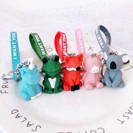$enCountryForm.capitalKeyWord Australia - Cute Animal Unicorn Keychain Bear Fox Kola PVC Key Chain Candy Color Bag Phone Car Pendant Key Ring Jewelry Gift Brelok