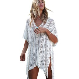 crochet swim cover ups Australia - Beach Swimsuit For Women Sleeve Coverups Bikini Cover Up Net Mesh Summer Swimming Dress Femme Crochet Pareos Outlet Beachwear