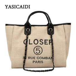 chained tote bags Canada - Yasicaidi High Quality Pu Leather Women Handbags Large Capacity Women Shoulder Bags Long Chain Women Tote Bags Sac A Main Y19070203