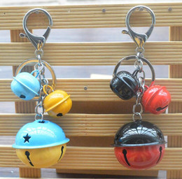 $enCountryForm.capitalKeyWord Australia - Small Bell Keychain Metal Double Color Cartoon Keyring Key Holder Handbag Ringing Decor Accessory