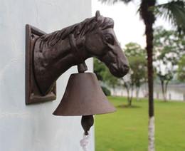$enCountryForm.capitalKeyWord Australia - Cast Iron Ornate Horse Head Door Bell Doorbell Country Brown Cottage Farm Patio Garden Barn Dinner Bell Metal Wall Decor Vintage Animal