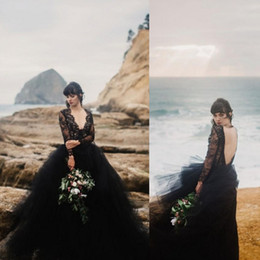 black bodice top NZ - Sexy Beach Black Wedding Dresses 2020 Deep V Neck Illusion Long Sleeves Lace Top Tulle Skirt Gothic Backless Wedding Bridal Gowns withTrain