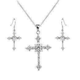 $enCountryForm.capitalKeyWord UK - 925 Silver Cross Jewelry Set Drop Earrings Pendant Necklace Set Luxury Hook Clear 18-inch Box Link Chain SET009