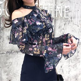 blouse flare sleeves Australia - Sweet Women Floral Shirt Chiffon Halter Navy Blue Flare Sleeve Blouse Women Female Blusas Lady Top Spring Clothes 205008