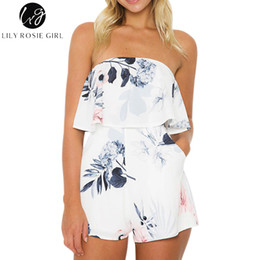 $enCountryForm.capitalKeyWord Australia - Lily Rosie Girl Off Shoulder White Floral Print Sexy Playsuits Backless Summer Beach Short Rompers Boho Party Jumpsuits Overalls