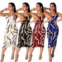 $enCountryForm.capitalKeyWord NZ - 2019 women spaghetti strap chain letter print sleeveless bodycon midi dress pencil open back club party dresses 4 color