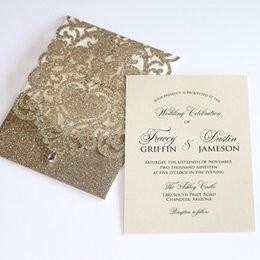 Gold Glitter Wedding Invitation Laser Cut Pocket Folded Invitations For Anniversary Birthday Engagement Sweetheart Lace Card