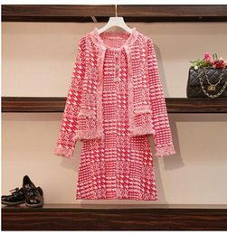 dress sleeves patterns design Australia - New design women's autumn knitted houndstooth plaid grid pattern tassel fringe rhinestone buttons patched tank dress and coat 2 pcs suit