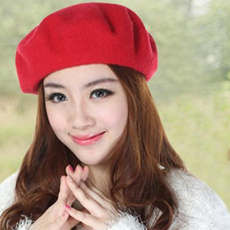 e96171e9178 black cream beret 2019 - New Solid Color Women s Girl s Beret French Artist  Warm Wool Winter