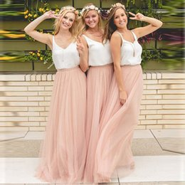 cheap red tutus Australia - 3 Layers Soft Tulle Bridesmaid Skirt Custom Made Cheap Pink Maxi Long Skirt Wedding Skirt Tutu 56 Colors Available Plus Size Y19072001