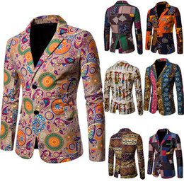 designer tuxedos men NZ - 2019 African Printing Men's Wedding Tuxedos Groom Designer Jackets Two Button Colorful Men Blazer In Stock