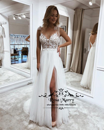 $enCountryForm.capitalKeyWord Australia - Modest Plus Size Boho Beach Wedding Dresses 2019 A Line Backless Cheap Bohemia Country Greek Bridal Gowns Long Tulle Vestido De Novia