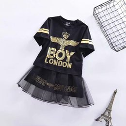 Fairy Style Dresses UK - BOY new girls hot stamping dress fashion letter stitching dress cotton short-sleeved T-shirt casual loose shirt free shipping