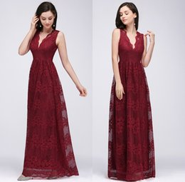 Wholesale Burgundy V Neck Lace Cheap Long Bridesmaid Dresses Ruched Floor Length Wedding Guest Party Dresses Maid Of Honor Evening Wear CPS615