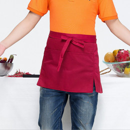 work uniforms wholesale UK - Saingace Waist Short Apron Hotels Restaurant Cafe Waiters and Waitresses Uniforms New Kitchen Restaurant Work Solid Aprons