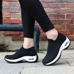 sneaker shoes for women Australia - Womens Flats Slip On Shoes for Women Sock Sneakers Platform 2019 Comfortable Soft Ladies Spring Buty Damskie Sepatu Wanita Black T191024