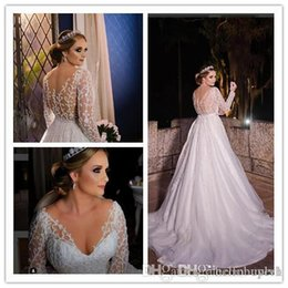 $enCountryForm.capitalKeyWord UK - White A Line Tulle lace Long Sleeve Country Wedding Dresses South Africa 2019 New Sheer Top Bridal Gowns With Beading Bling abito da sposa