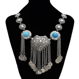 gypsy coins NZ - Bohemia Silver Metal Body Jewelry Blue Black Stone Turkish Gypsy Ethnic Tribal Coin Tassel Bib Statement Necklace Collar Chains