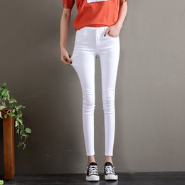 40050d1b6e31 Summer Plus Size White Jeans Woman High Waist Denim Pencil Stretch Skinny  Push Up Jeans Women Pants Slim Elastic Casual