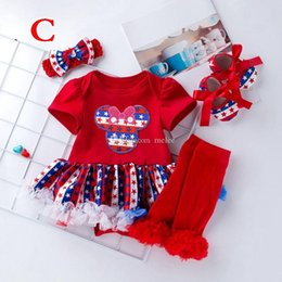 $enCountryForm.capitalKeyWord Australia - American Flags Baby Girls Tutu Dresses Rompers Headbands Shoes Socks 4Pcs Set Red Blue Stars Skirt Independence Day Clothes 3Styles