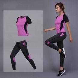 $enCountryForm.capitalKeyWord NZ - 2 Pieces Women Yoga Set Fitness Gym Clothes Running Tennis Shirt+pants Yoga Leggings Jogging Workout Sport Suit Y190508