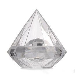 Clear Gift Wrapping Paper Australia - 7X7CM Clear Plastic Lovely Diamond Shape Candy Box Boxes Wedding Party Favor Box Candy Holders Banquet Gift Free Shipping