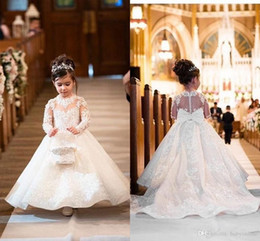 winter christening long sleeves dress NZ - Baby Autumn Winter Wedding Flower Girl Dreses High Neck Long Sleeve Sheer Neck Lace Applique Button Covered Back With Big Bow Girl Dress