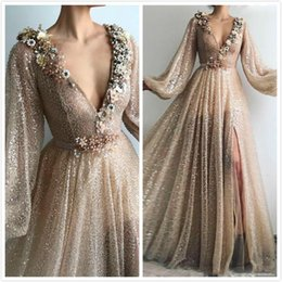 $enCountryForm.capitalKeyWord Australia - Sparkly Champagne Prom Gowns Sexy Split Deep V Neck Formal Dress Sequins Tulle Elegant Evening Party Dress Custom made Zipper