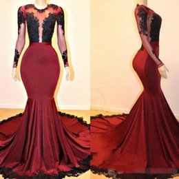 Red Ruched Prom Dresses NZ - 2019 Dark Red Mermaid Prom Dresses Long Sleeves Black Lace Appliqued Sheer Neck Illusion Sexy Formal Occasion Wear Evening Party Gown